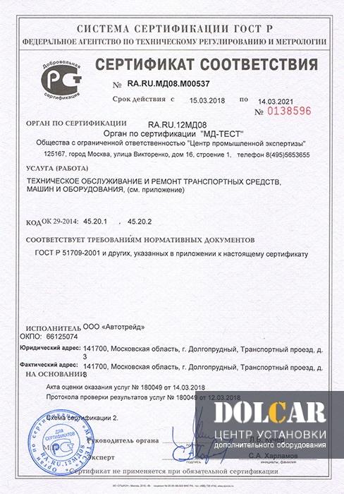 Сертификат соответствия ГОСТ Р 51709-2001