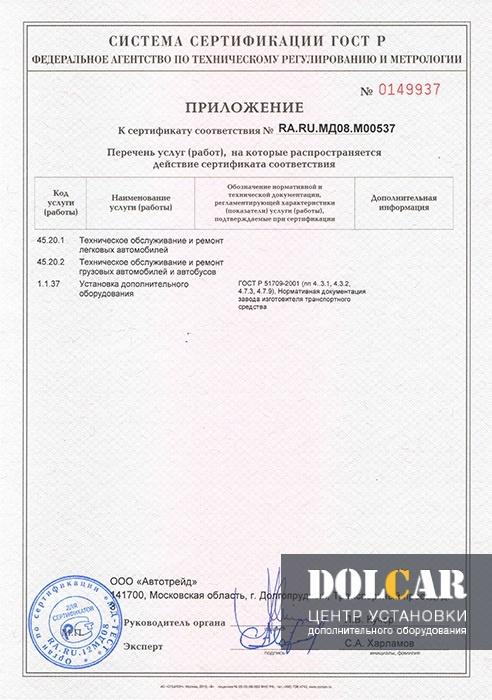 Сертификат соответствия ГОСТ Р 51709-2001 Приложение